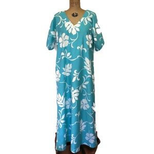 VINTAGE Hawaiian Muu Muu Maxi Dress Floral Size M